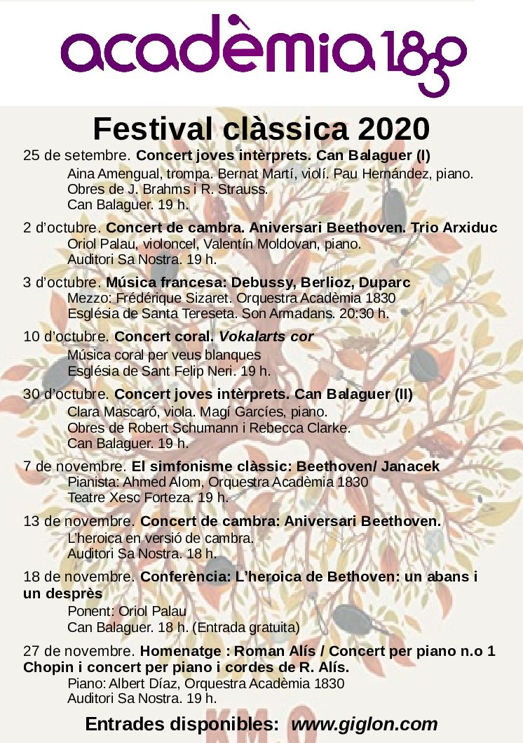 Concert in the Festival clàssica cycle, organized by the Acadèmia 1830 entity (Mallorca)