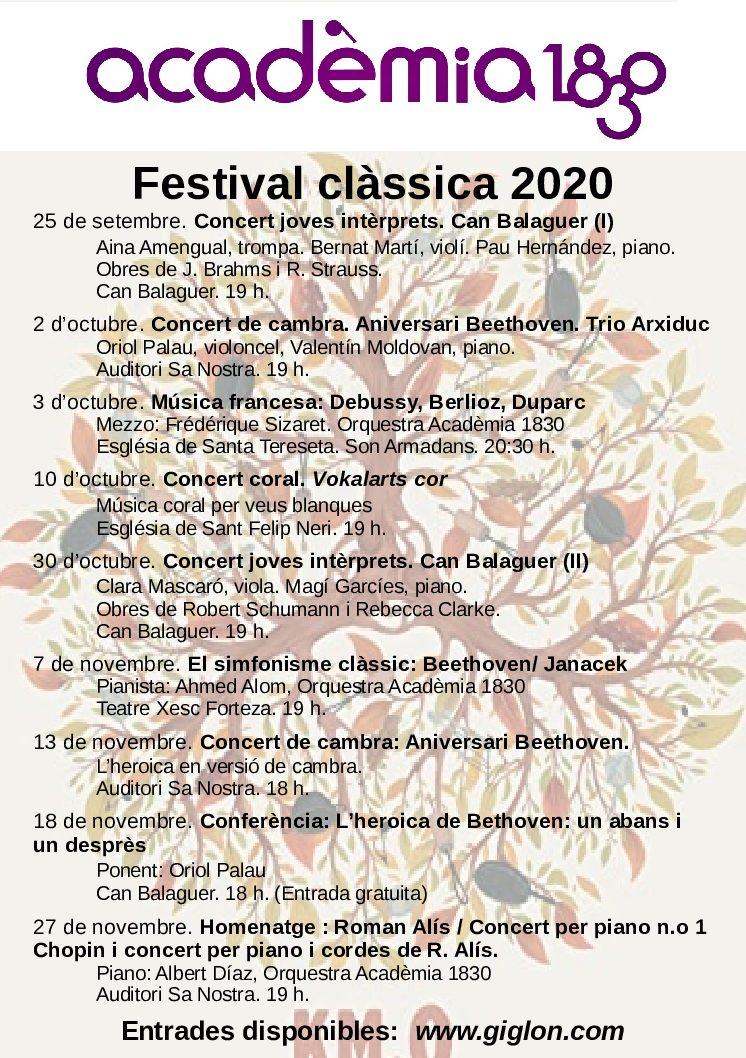 Concierto en el ciclo Festival clàssica, organizado por la entidad Acadèmia 1830 (Mallorca)
